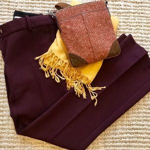 NWOT Ann Taylor Petite Devin Trousers Burgundy